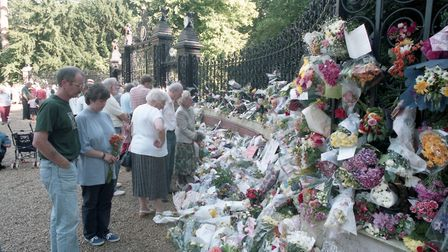 Floral tributes for Diana, Princess of Wales at the Norwich Gates at Sandringham House on September