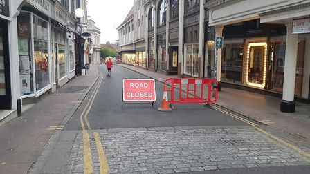 Exchange Street is closed after a water main burst. Picture: Marc Betts