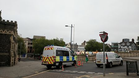 Gaol Hill is closed in Norwich. Picture: George Ryan