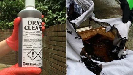 The bottle of drain cleaner with 96pc sulphuric acid (l) and what it did to a shirt (r). Photo: Arch