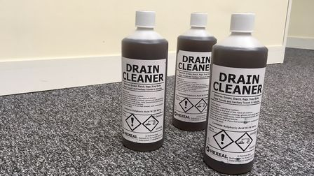 The three bottles of 96pc sulphuric acid were bought online for less than �15. Photo: Archant