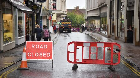 Exchange Street closed due to water main leak. Picture : ANTONY KELLY