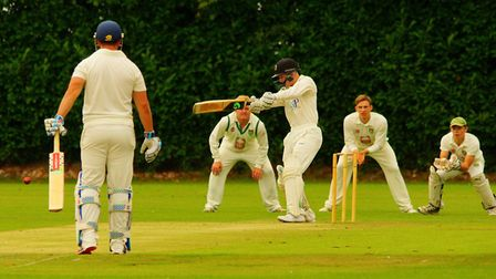 Mitchell Todd on the offensive for Vauxhall Mallards against Norfolk rivals Great Witchingham. Pictu