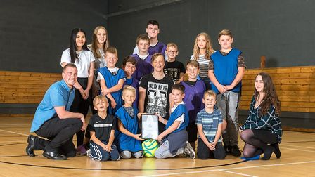 Photo #1 � The Hillington Square Football Club with team coach Alice Henderson (bottom right) and Ro