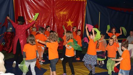 Circus skills performances with pupils at Saxlingham Nethergate Primary School. Picture: Zoe Anthist