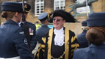 Lord Mayor, David Fullman, chats to members of the RAF in the Battle of Britain parade by RAF Marham