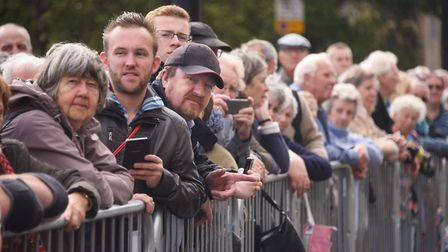 Spectators watch the Battle of Britain parade by RAF Marham at the City Hall. Picture: DENISE BRADLE