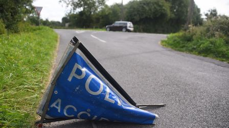 The crossroads on the A1075 between Watton and Shipdham where a motorcyclist died on Sunday morning.