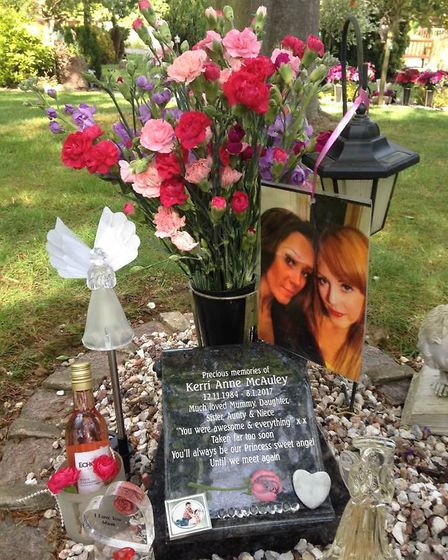 Picture of Kerri McAuley's memorial stone. PICTURE: Lesley McAuley.
