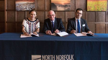 Left to right: Sinead Lynch, Shell UK Country Chair; John Lee, North Norfolk District Council Cabin