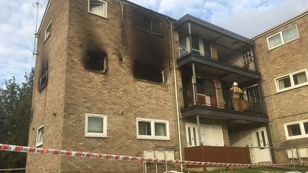 The scene of fire at a flat in Penn Grove, off Aylsham Road. Picture Peter Walsh