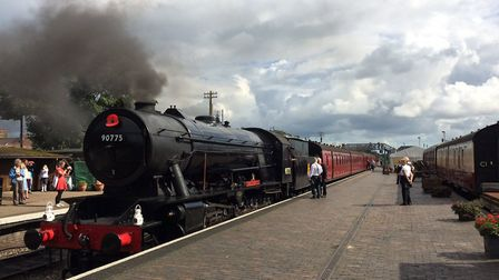 The steam loco 90775 leaves NNR at Sheringham, after being named The Royal Norfolk Regiment. Picture