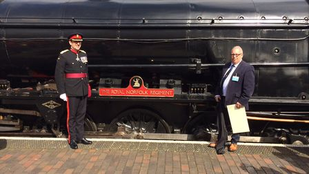 The steam loco 90775 is named The Royal Norfolk Regiment by Brigadier James Woodham., left. On right