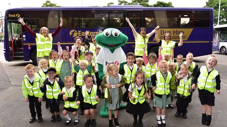 Youngsters from Woodlands Primary Academy school enjoy a day out at First Eastern Counties Bus depot