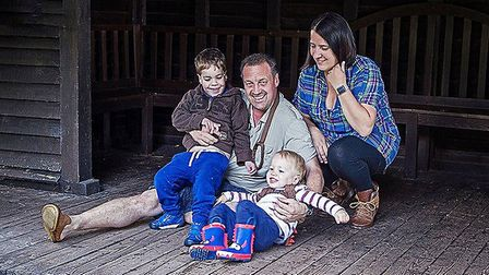 Scott and Sarah Bird with their sons Ethan (left, four) and Jude (20 months) Picture: Family handout