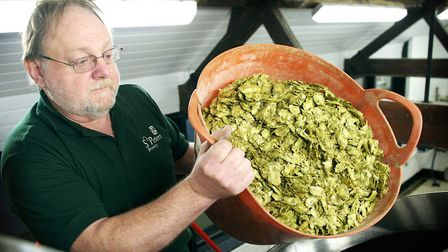 St Peter's Brewery head brewer Steve Groves adds hops to the brew. Picture: Julian Claxton