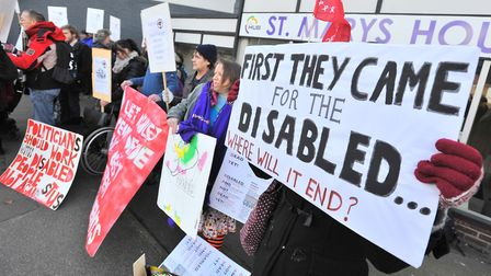 Norfolk Disabled People Against the Cuts demonstrate outside St Mary's House, Duke Street over disab