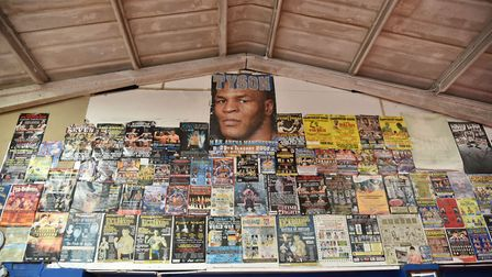 The famous big fight poster wall at the Kickstop Gym. Picture: Chris Lakey