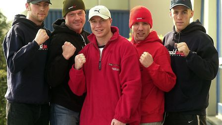 Jon Thaxton, centre, lending his support to a Norwich boxing promotion. From left, Danny Smith, Earl