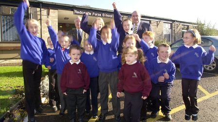 Children at Thetford's Redcastle Furze School celebrate their really good Ofsted report in 2007. Wit