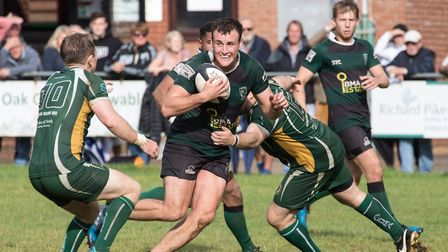 Will Hodgson on the charge for North Walsham against Saffron Walden. Picture: Hywel Jones