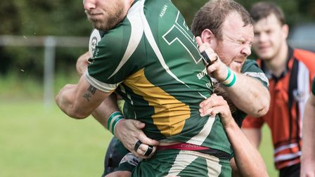 Tom Browes tackling during North Walsham's win over Saffron Walden. Picture: Hywel Jones