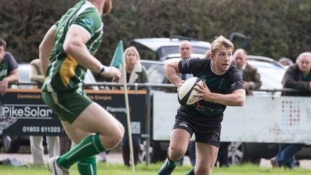 Jake Duffield in possession for North Walsham against Saffron Walden. Picture: Hywel Jones