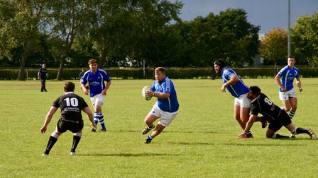 Action from Diss' match against Colchester. Picture: John Grist