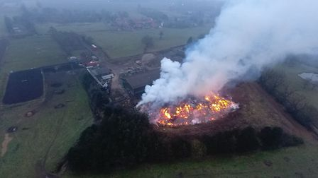 A drone photograph of the fire in January.