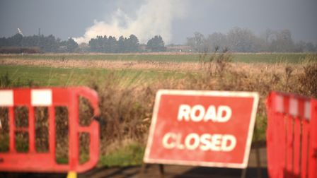Some of the roads near the fire at North Runcton are currently closed. Picture: Ian Burt