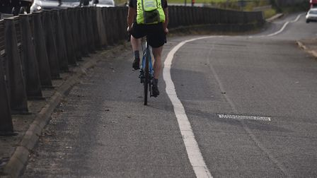 The existing cycle path at Newmarket Road, Cringleford, which could become two-way, doubling it's si