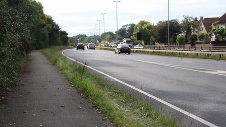 The path on the other side of the dual carriageway at Newmarket Road, Cringleford, which residents h