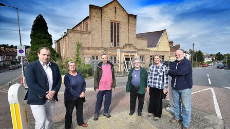Norwich Green Party members at St Peter's Church in Norwich. Left to right, cllr Martin Schmierer, A