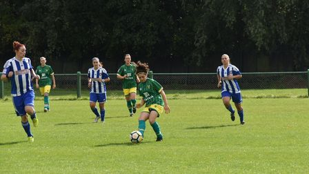 Kyla Love on the ball for Norwich City Ladies against Actonians. Picture: Brian Coombes