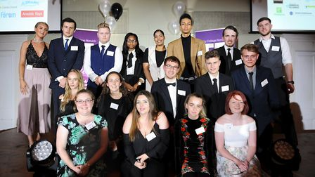 The winning students at City College Norwich's Further Education Awards. Picture: Donna Brown