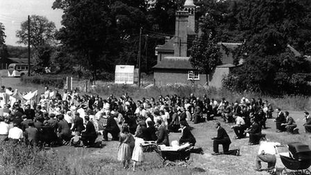 Polish outdoor mass held at the Weeting Hall Camp in 1950. Picture: V Lukaniuk