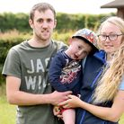 Kyra Welch and her partner Kieron Griffin with their son Kaiden Griffin. The family organised Horse