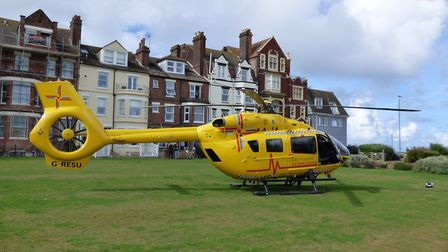 The air ambulance landed in Cromer. Photo: Paul Russell