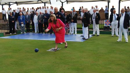 The Lady Mayoress opened the Great Yarmouth Bowls Tournament with a spectacular bowl touching the ja