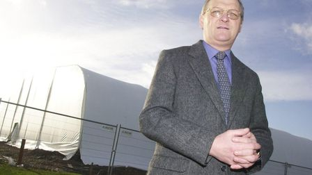 SAMMY MORGAN, NORWICH CITY FC'S ACADEMY DIRECTOR, IN FRONT OF THE NEARLY COMPLETED INDOOR FACILITY A