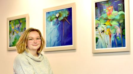Eastern contemporary artists exhibition at Yarmouth Library.Exhibition curator Harriet Thomas-Bush.