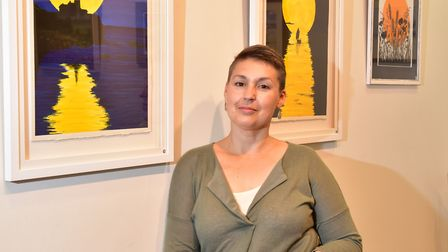 Eastern contemporary artists exhibition at Yarmouth Library.Artist Lesley Storey with her work.Pi