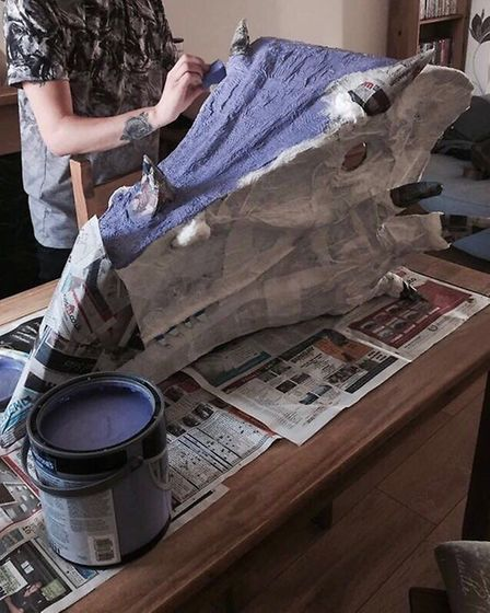 Luna the Dragon being painted. Picture: Chrissy