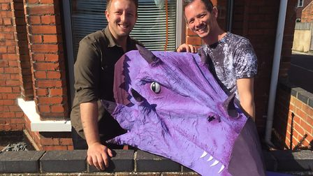 Chrissy and Ryan with Luna the Dragon. Picture: David Hannant