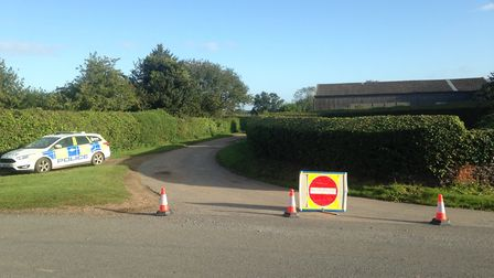 Steer Road in Wolferton which is closed after a light aircraft crashed in the village. Picture: TAZ