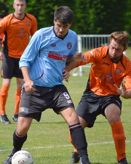 Aiden Lowe playing for Bungay Town FC. Picture: Shaun Cole.