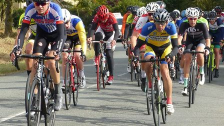 Luke Rowell (VC Baracchi) heads the bunch at the Orwell Velo Road Race. Picture: Fergus Muir