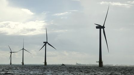 Scroby Sand offshore windfarm in the North Sea off the Norfolk Coast near Great Yarmouth. Wind Turb