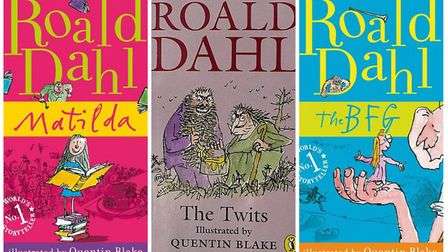 Some of the books written by Roald Dahl. Photo shows Matilda, The Twits and The BFG. (L-R). Photo: A