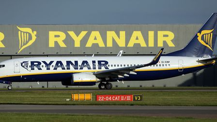 A Ryanair plane at Stansted Airport. The budget airline has announced it will cancel up to 50 flight